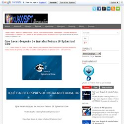 Que hacer después de instalar Fedora 18 Spherical Cow ~ kuboosoft, Alternativas Libres