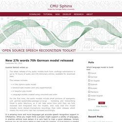 CMU Sphinx - Speech Recognition Toolkit