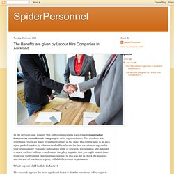 SpiderPersonnel: The Benefits are given by Labour Hire Companies in Auckland
