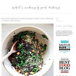 black rice salad with spinach, squash, sesame ginger dressing + pumpkin seed crunch