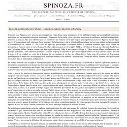 › Spinoza, philosophe de l'amour – extrait de Jaquet, Sévérac et Suhamy