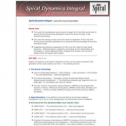 Spiral Dynamics Integral - Dr Don Beck