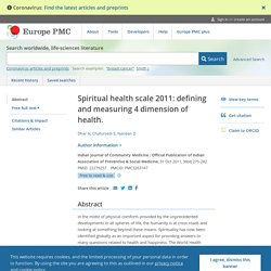 Spiritual health scale 2011: defining and measuring 4 dimension of health. - Abstract