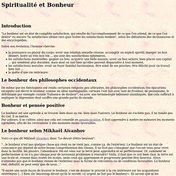 Spiritualité et Bonheur