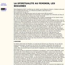 LA SPIRITUALITE AU FEMININ,LES BEGUINES