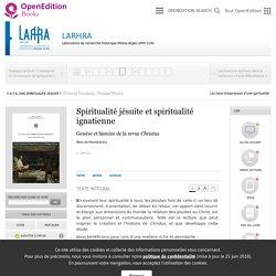 Y a-t-il une spiritualité jésuite ? - Spiritualité jésuite et spiritualité ignatienne - LARHRA
