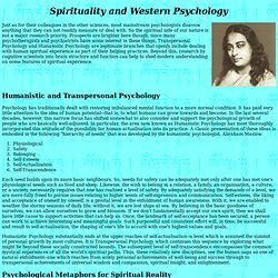 Spirituality and Western Psychology