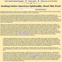 Seeking Native American Spirituality and Traditional Religion: R