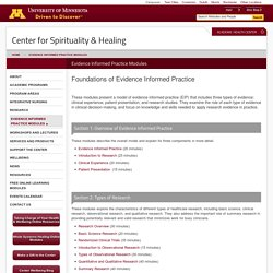 Evidence Informed Practice Modules - Center for Spirituality and Healing - University of Minnesota