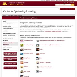 Free Online Learning Modules - Center for Spirituality and Healing - University of Minnesota