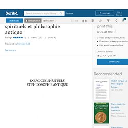 Pierre Hadot - Exercices spirituels et philosophie antique