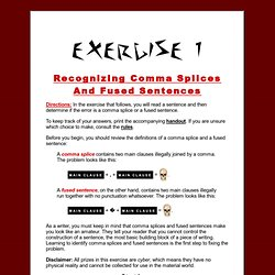 Comma Splices and Fused Sentences — Exercise 1