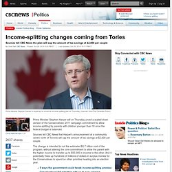 Income-splitting changes coming from Tories