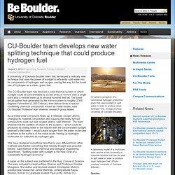 CU-Boulder team develops new water splitting technique that could produce hydrogen fuel