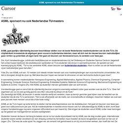 ASML sponsort nu ook Nederlandse TU-masters