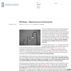 #UsGuys - Spontaneous Community | Communication and Strategy by Patrick Prothe