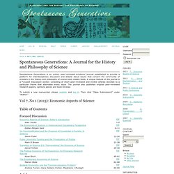 Spontaneous Generations: A Journal for the History and Philosophy of Science