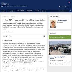 Syrien, R2P og spørgsmålet om militær intervention