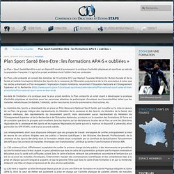 Plan Sport Santé Bien-Etre : les formations APA-S « oubliées »