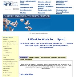 Sport and Leisure Careers