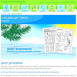 Sport Printable Worksheets for ESL Kids