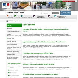 Sport et santé - DRJSCS Ile-de-France