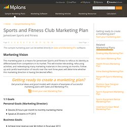 Sports and Fitness Club Sample Marketing Plan - Marketing Vision