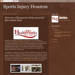 Sports Injury Houston: How can a Chiropractor Help you to Get Rid of Back Pain?