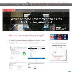 Spot the Phish: Government Websites