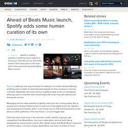 Ahead of Beats Music launch, Spotify adds some human curation of its own