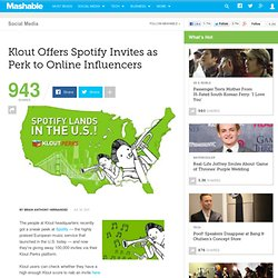 Klout Offers Spotify Invites as Perk to Online Influencers