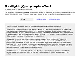 Spotlight: jQuery replaceText