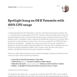 Spotlight hung on OS X Yosemite with 100% CPU usage