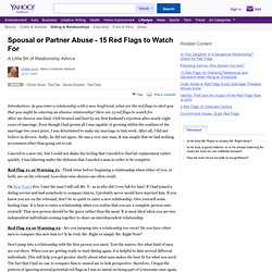 Spousal or Partner Abuse - 15 Red Flags to Watch For - Yahoo! Voices Mobile