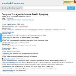 David Sprague Sprague Solutions at Website Informer