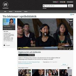 Tio lektioner i språkdidaktik: Upphovsrätt och källkritik