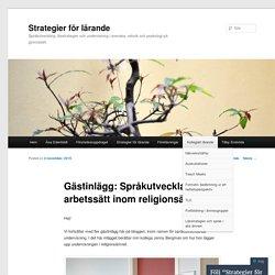 Språkutvecklande arbetssätt inom religionsämnet