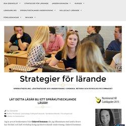 Låt detta läsår bli ett språkutvecklande läsår! – Strategier för lärande