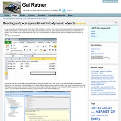 Reading an Excel spreadsheet into dynamic objects - .NET Development - Gal Ratner