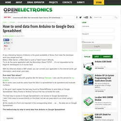 How send data from Arduino to Google Docs Spreadsheet