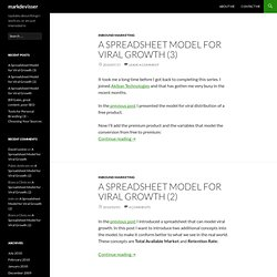 A Spreadsheet Model for Viral Growth — Mark de Visser