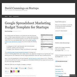 Google Spreadsheet Marketing Budget Template for Startups