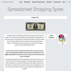 Spreadsheet Shopping Spree - Ms. Maurus' Class