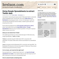 Using Google Spreadsheets to extract Twitter data » brelson.com