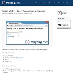 Spring MVC + jQuery Autocomplete example