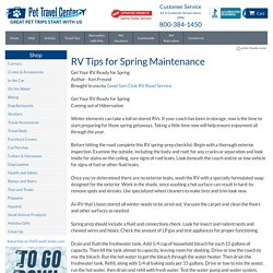 RV Tips for Spring Maintenance - Travel Tips - Pet Travel Center