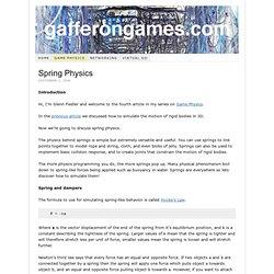 Game Development Tutorials – Game Physics – Spring Physics