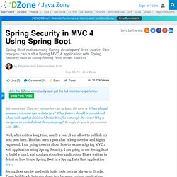 Spring Security in MVC 4 Using Spring Boot