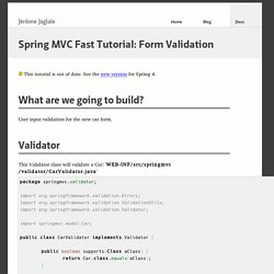 Spring MVC Fast Tutorial: Form Validation