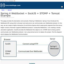 Spring 4 WebSocket + SockJS + STOMP + Tomcat Example